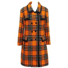 Preowned 1960s English Checked Tweed Tailored Coat By Royal... ($1,750) ❤ liked on Polyvore featuring outerwear, coats, dresses, jackets, tops, brown, utility coat, brown coat, tweed coats and tweed wool coat