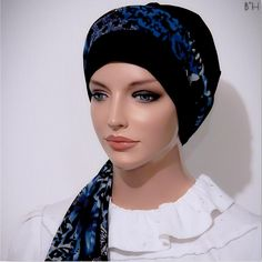 No wrap easy to wear fitted tichel head scarf with tails and piping. Beret, Turban, Ties, Cap, Tie Dye Outfits, Baseball Cap, Turbans, Berets, Pagri