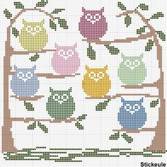 Free Owls in Trees Cross Stitch Pattern available in several color combinations