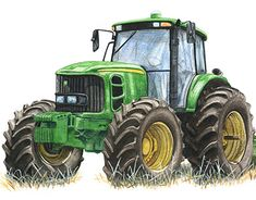 Cool Art Drawings, Car Drawings, Tractor Drawing, Old John Deere Tractors, Tractor Pictures, New Tractor, John Deere Equipment, A Level Art, Country Art
