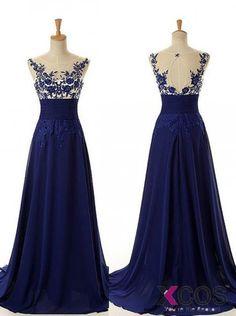 Simple Dress 2015 Hot Prom Dresses, Long Royal Blue Applique Chiffon Prom Dresses, Evening Dresses CHPD-7101