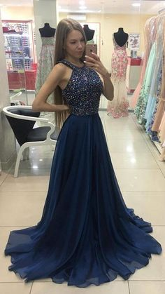 Dark blue beads chiffon A-line long prom dress, blue evening dress