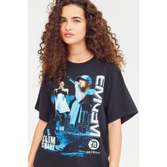 Eminem Tee ($20) ❤ liked on Polyvore featuring tops, t-shirts, graphic design t shirts, blue t shirt, blue tee, short sleeve tee and relax t shirt