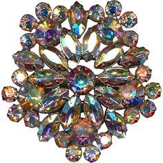 Big WEISS Vintage Rhinestone Pin Brooch Aurora Borealis Crystal ...