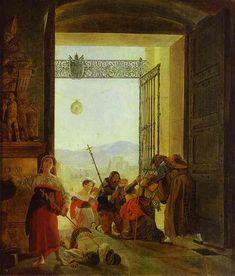 Pilgrims at the Entrance of the Lateran Basilica, 1825 Karl Bryullov -