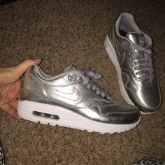 Nike ID Air Max 1 Made with Nike ID. Silver leather. 100% authentic. Worn once for an hour. No box, no flaws. Women's size 8. Price final on posh Nike Shoes Athletic Shoes
