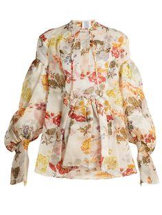 Swash floral-print silk-organza top | Rosie Assoulin | MATCHESFASHION.COM