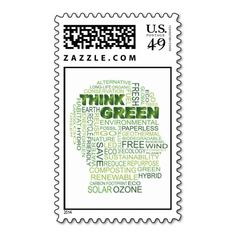 Think Green Word Cloud Postage Stamp