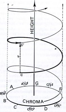 This is why humans are able to recognize the musical notes despite their place in the octave.  Roger Shepard's schema representing pitch, height and chroma.