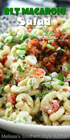 Side Salad Recipes, Side Dish Recipes, Pasta Recipes, Cooking Recipes, Macaroni Recipes, Blt Macaroni Salad, Pasta Salad, Blt Salad, Healthy Macaroni Salad