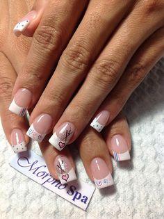 Puntas blancas French Nails, French Manicure Nails, Shellac Nails, Square Nail Designs, Nail Art Designs, Christmas Gel Nails, White Tip Nails, Nagel Hacks, Valentine Nail Art