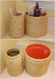 30 Crafty Repurposing Ideas For Empty Coffee Containers Rope Covered Coff. 30 Crafty Repurposing Ideas For Empty Coffee Containers Rope Covered Coffee Can ideas Easy Plastic Coffee Containers, Plastic Container Crafts, Plastic Jar Crafts, Plastic Coffee Cans, Recycling Containers, Diy Storage Containers, Plastic Plastic, Rope Crafts, Diy Home Crafts