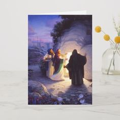 Shop Women At The Empty Tomb Easter Card created by ArtOfFaith. Catholic Lent, Holiday Cards, Christmas Cards, Empty Tomb, Gift Wrapping Supplies, Christian Art, Christmas Card Holders, Easter Card, Card Sizes