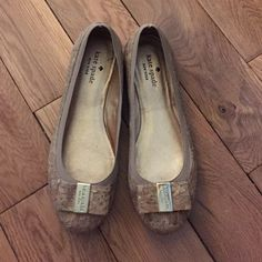 Weekend Sale! Kate Spade Cork Flats. Sold Out online! Only worn a few times, condition is like new! Super cute with a bow on front! kate spade Shoes Flats & Loafers