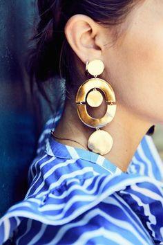 large gold statement earrings J.Crew earrings