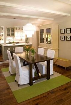 fabulous rug and overall color scheme: brown/white with touches of fresh apple green