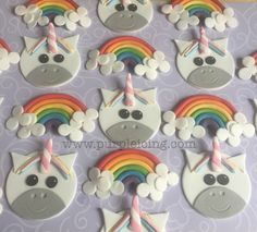 Purple icing. Unicorn and rainbow cupcake toppers made out of icing. Fb.com/purpleicing Rainbow Cupcakes, Fun Cookies, How To Make Cake, Cupcake Toppers, Making Out, Icing, Unicorn, Purple, Desserts