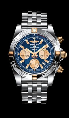 Chronomat 44 diver's watch by Breitling - Two-tone steel and rose case, Metallica blue dial, steel Pilot bracelet.