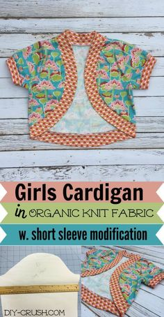 Organic Cotton Plus Fabric shown on the Seville Cropped Cardigan pattern. The pattern comes with elbow and long sleeves but I shortened them with a couple of easy steps. See the review by clicking now!
