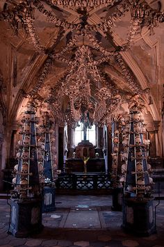 Sedlec Ossuary in the Czech Republic. A church made entirely out of human bones