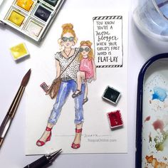 Mommy blogger. You know you're a mom blogger. Blogger mom style. Mom flat lay style. Watercolor.