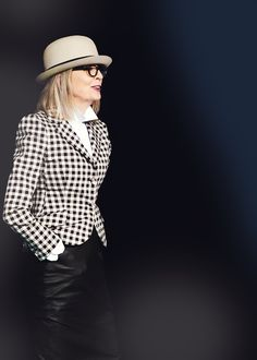 Diane Keaton ~ Love her quirky, tell it like it is, and a style icon...she inspired the FEMININE MENSWEAR (as well as Greta Garbo & Katherine Hepburn 2 classic favs)...and pearls baby pearls!