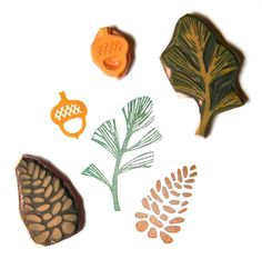 Woodland stamp set of 3 hand carved rubber stamps acorn - pine cone - pine bough