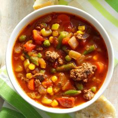 "Spicy Beef Vegetable Stew Recipe -""This zesty ground beef and vegetable soup is flavorful and fast to fix,"" reports Lynnette Davis of Tullahoma, Tennessee. ""It makes a complete meal when served with warm corn bread, sourdough bread or French bread. Beef Recipes, Soup Recipes, Cooking Recipes, Slow Cooking, Cabbage Recipes, Irish Recipes, Cooking Oil, Spicy Recipes, Pressure Cooking"