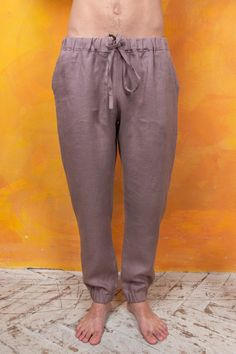 Vintage Men Linen Beach Trousers Baggy Pajamas Summer Beach Casual Yoga Trousers