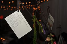 Postcards used as guestbook and tied to the tree centerpieces.