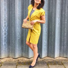 80s me: Let's pretend we're both married to Simon Le Bon, and we live in a huge, glass house, where we spend every day naked.  #duranduran #80s #teenage #dreams #vintage #yellow #dress #with #shoulderpads #by #sunterrace #with #integral #breton #stripe #bib #navy #mesh #stilettos #thankyou #nesa #like4like #likeforlike #ootd #london #love #today #me #vsco #wiwt