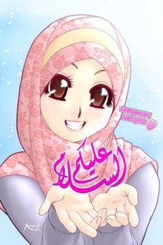 Assalaamu Alaikum by Nayzak on DeviantArt Hijab Drawing, Drawing S, Image Facebook, Girly Dp, Classroom Birthday, Islamic Cartoon, Hijab Cartoon, Lovely Girl Image, Islamic Girl