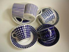 Stig Lindberg for Gustavsberg Vintage Cups, Vintage Tea, Porcelain Ceramics, Ceramic Pottery, Stig Lindberg, Stoneware, Earthenware, Blue Plates, China Patterns