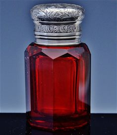 BEAUTIFULc1890 CRANBERRY CUT GLASS & ETCHED STERLING SILVER PERFUME SCENT BOTTLE