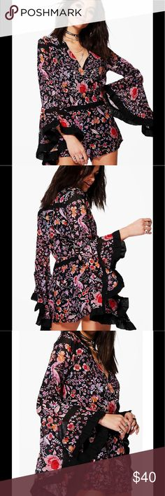 "NWT Boho Floral Romper Sz 6 Brand sold at Asos.com. Fabric: Outer 100% Polyester. Lining 100% Polyester. Flat Measurement: Total Length 28.5"". Waist 27"" Elasticated Waist. Machine Washable. Model Wears size 6. ASOS Pants Jumpsuits & Rompers"