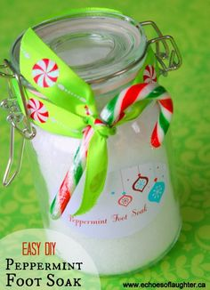 Echoes of Laughter: Project Homemade Christmas:  Two-ingredient Peppermint Foot Soak... (Stocking stuffer idea) Embellish with ribbon and a mini candy cane if you like.This gift would also be great paired with soft, fluffy socks.