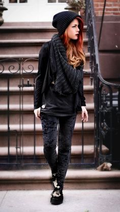love this outfit!! black crushed velvet leggings, leopard print creepers, black top with an oversized sweater scarf and beanie...i even like her hair color (: #MyStyle