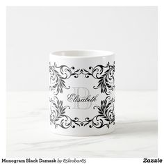 Shop Monogram Black Damask Coffee Mug created by Personalize it with photos & text or purchase as is! Initial Coffee Mugs, Extra Large Coffee Mugs, White Damask, China Mugs, Bone China, Tea Cups, Great Gifts, Candle Holders, Monogram