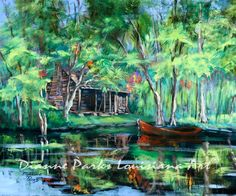 """""""The Red Pirogue"""", Louisiana Bayou Art painting by New Orleans artist, Dianne Parks.  Wide variety of sizes and options, including canvas and metal prints!"""