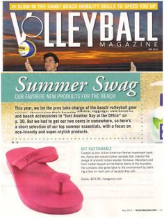 """@Gurus featured as #summer #swag in #volleyball magazine """"a favorite new #beach product"""" #sustainable #fashion #flipflops #sandals"""