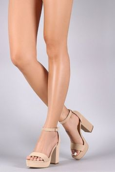 These simple but classic open toe heels features a smooth nubuck fabric, single wide band toe vamp, adjustable buckle ankle strap, tribute platform, and chunky heel. Finished with a lightly padded… Lace Up Heels, Ankle Strap Heels, Ankle Straps, Pumps Heels, Stiletto Heels, Prom Heels, Wedding Heels, Platform High Heels, Fashion Heels