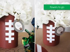 pictures of centerpieces using white mum flowers football |