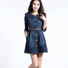 1334-brand-newest-vintage-fashion-women-s-denim-dress-popular-lace-neck-ladies-jeans-casual-dresses-plus