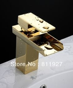 Waterfall bathroom basin faucet square brass sink water mixer tap in the bathroom