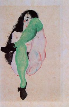 """""""Girl with Green Stockings"""" by Egon Schiele."""
