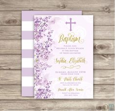 A personal favorite from my Etsy shop https://www.etsy.com/ca/listing/286838725/baptism-invitations-flowers-cross-purple