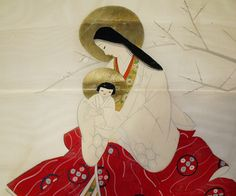 Mary + Jesus Antique Japanese Painting with Kosode by snowfoxcreations / snowfoxstock, Madonna Art, Madonna And Child, Catholic Art, Religious Art, Roman Catholic, Japanese Painting, Japanese Art, Christianity In Japan, Traditional Japanese Kimono