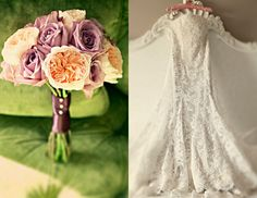 pink-purple-bouquet-lace-wedding-dress