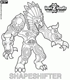 Shapeshifter. Invizimals Shadow Zone. Huge totem with immense power is the god of the forests of the Native Americans coloring page