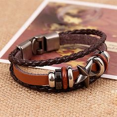 1x Cool Unisex Women Men Punk Wristband Metal Studded Leather Bracelet Gift -- Awesome products selected by Anna Churchill